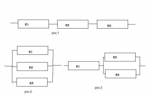 Начертить все соединения проводников r1= 1ом r2=2ом r3=3ом и вычеслить в каждом случае общее сопроти