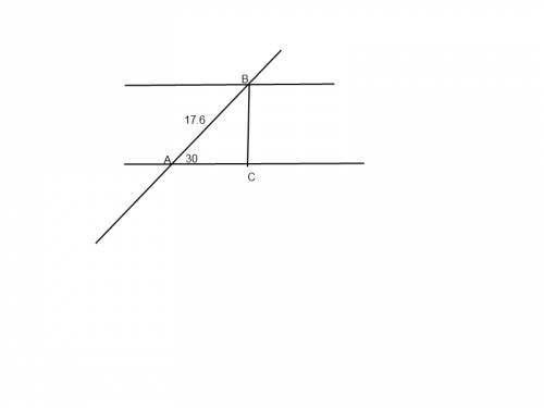 Прямая, пересекая две параллельные прямые, образует угол 30 градусов. длина отрезка между параллельн
