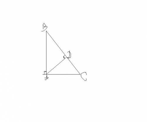 Дано: треугольник abc-прямоугольный угол a=90 градусов,ab=20 см ad-высота треугольника=12 см найти: