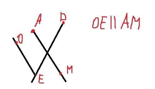 Построй два пересекающихся лучв де и ам.построй луч ое ,который пересекает луч де и не пересекает ам