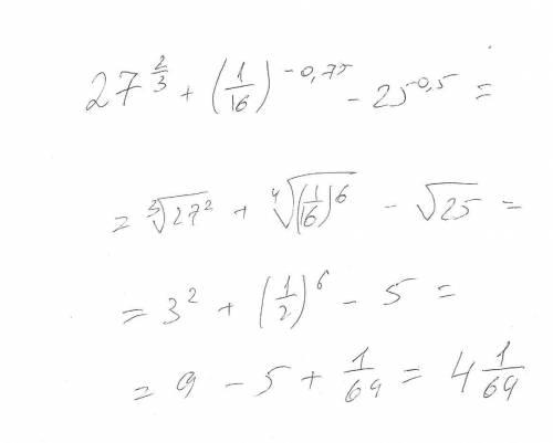 Решить пример 27⅔+(1/16)⁻⁰,⁷⁵-25⁰,⁵