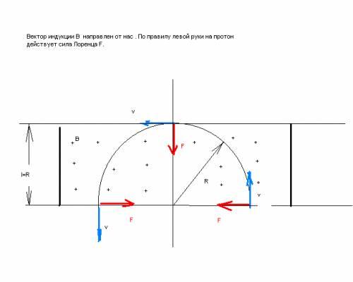 Протон с энергией w = 1 мэв влетел в однородное магнитное поле, перпендикулярное линиям индукции. ка