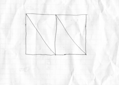 Ломаной линией,которая состоит из трех отрезков,раздели прямоугольник на 4 равные части.