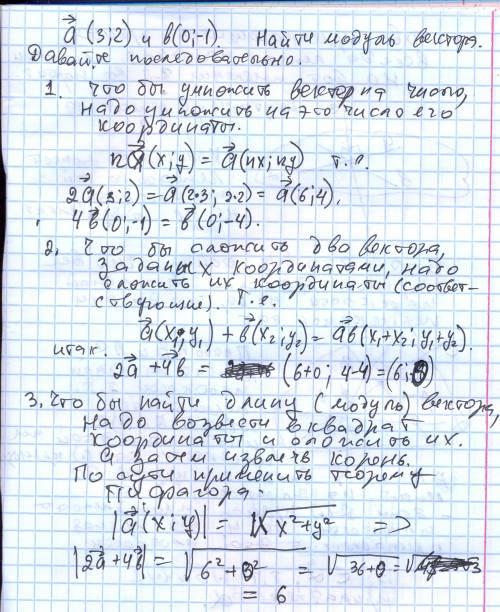 Даны векторы a(3 2) и b(0 -1) найдите модуль вектора- 2a+4b