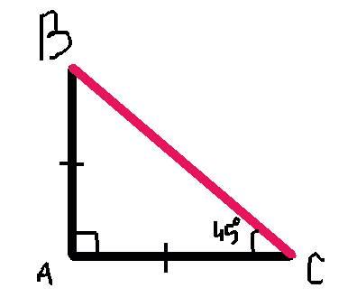 Впрямоугольном треугольнике один из катетов равен 10, а угол, лежащий напротив него, равен 45 градус