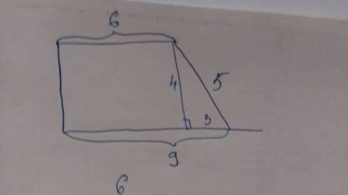 Впрямоугольной трапеции основания равны 6 см и 9 см,а большая боковая сторона равна 5 см.найдите пло