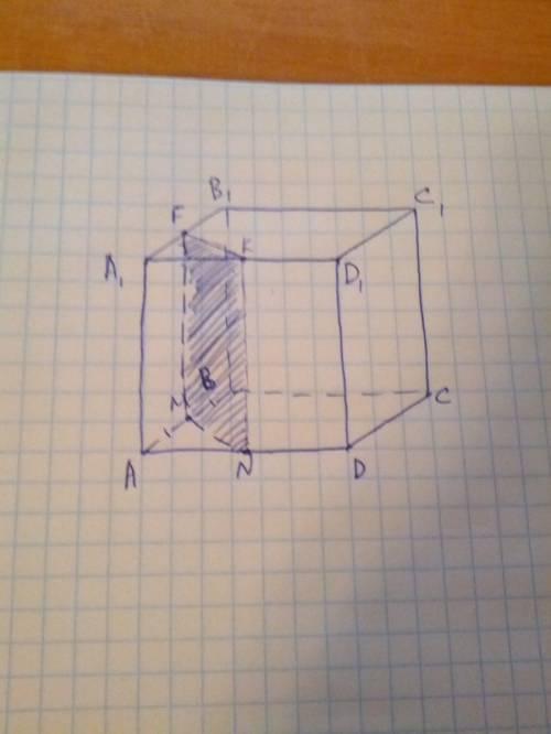Дан куб abcda1b1c1d1.построить сечение,проодящее через точки м- середину ребра ав и n-середину ребра