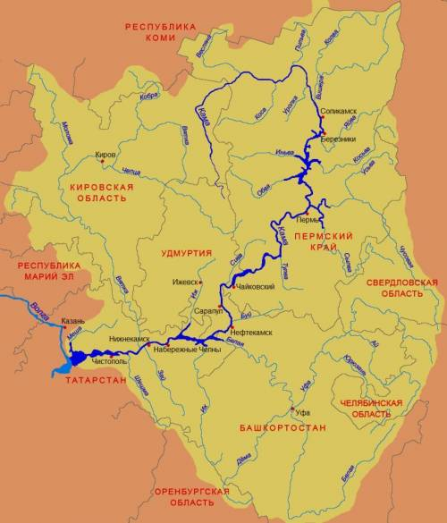 Опишите реку кама по плану: 1.в какой части материка течет? 2.где берет начало? куда впадает? 3.в ка
