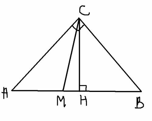 Знайдіть кут між медіаною і висотою прямокутного трикутника,які проведені з вершини прямого кута,якщ