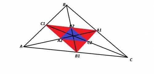 Дан треугольник abc, проведены медианы, точки пересечения медиан со сторонами образуют треугольник a