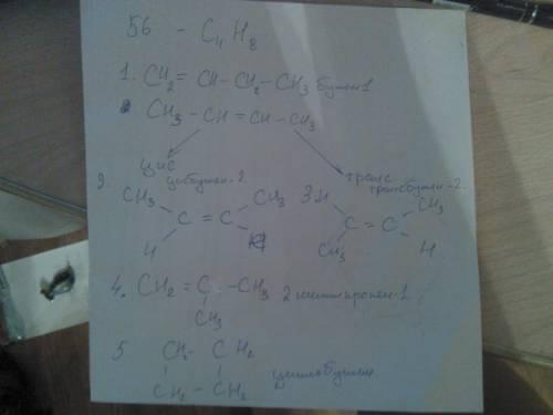 Составить структурную формулу всех изомерных углеводородов с массой 56?