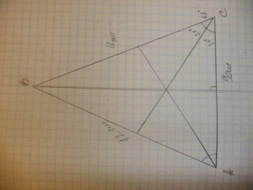 Постройте равнобедренный треугольник, боковая сторона которого имеет длину, равную 12 см, а основани