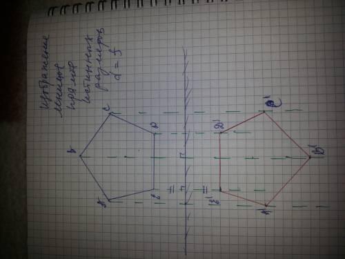 Нужно нарисовать зеркальное изображение пятиугольника на листке! пож. я посмотрю как и перерисую