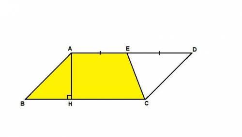 Площадь параллелограмма abcd равна 156. точка е - середина стороны ad. найдите площаль трапеции