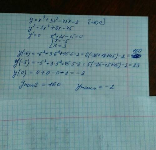Найдите наибольшее и наименьшее значения функции y=x^3+3x^2-45x-2 на отрезке: [-6; 0]