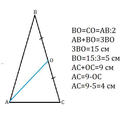 Отрезок ао-медиана равнобедренного треугольника abc с основанием ac. вычислите длины сторон треуголь