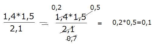 Воспользуйтесь примером образцом,найдите значения выражений 1,4×1.5÷2.1
