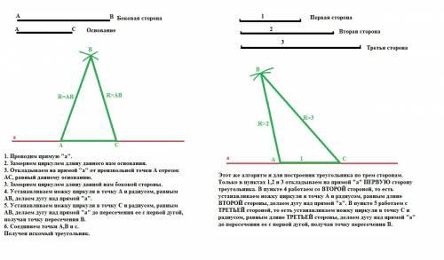 Умоляю, с 1) постройте равнобедренный треугольник по основанию и боковой стороне. 2) сформулируйте а