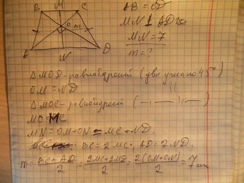 Вравнобедренной трапеции диагонали перпендикулярны. высота трапеции равна 7. найдите среднюю линию