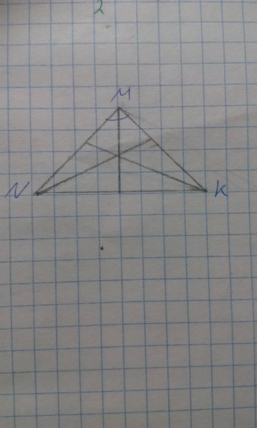 Начертите равнобедренный тупоугольный треугольник mnk с основанием nk и тупым углом м .с циркуля и л