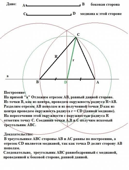 Постройте равнобедренный треугольник по боковой стороне и медиане, проведенной к ней.