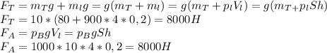 F_T=m_Tg+m_lg=g(m_T+m_l)=g(m_T+p_lV_l)=g(m_T_+p_lSh)\\F_T=10*(80+900*4*0,2)=8000H\\F_A=p_BgV_l=p_BgSh\\F_A=1000*10*4*0,2=8000H