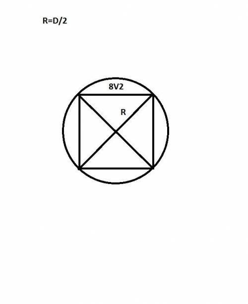 Сторона квадрата равна 8 2 . найдите радиус окружности, описанной около этого квадрата.