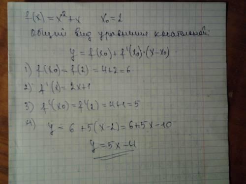 Напишите уравнение касательной к графику функции f(x)=x^2+x в точке x0=2