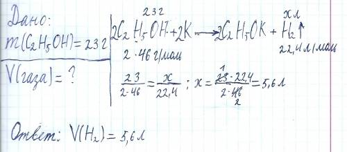 Вычислите объем газа вфделившегося при взаимодействии 23г этанал с калием