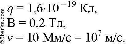 Какая сила действует на протон, движущийся со скоростью 10 м/с в магнитном поле с индукцией 200мтл?