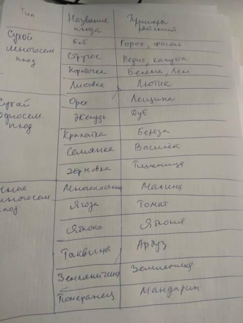 Составьте таблицу со столбцами: название плода, тип плода, сухой или сочный, односемянной или многос