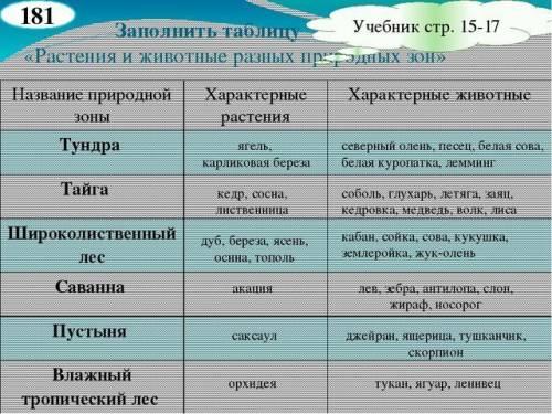 Таблица зон: 1)зона 2)растения 3)животные 4)экологические проблемы 5)животные и растения красной кни