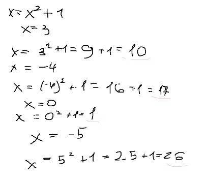 Найдите значение функций: f(x)=x^2+1 при x=3; -4; 0; -5. ! умоляю.
