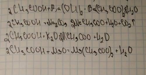 Допишіть схеми реакцій та перетворіть їх на хімічні рівняння: ch3cooh+ba(oh)2 ch3cooh+na2co3 ch3cooh