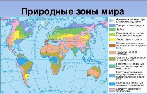 Перечислите природные зоны тропического и умеренного поясов освещённости.
