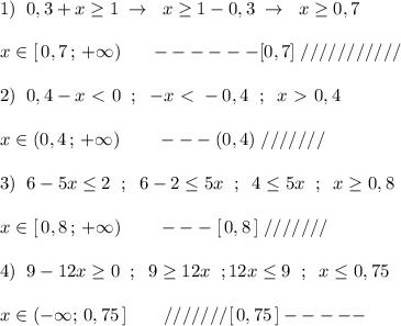 1)\; \; 0,3+x \geq 1\; \to \; \; x \geq 1-0,3\; \to \; \; x\geq 0,7\\\\x\in [\, 0,7\, ;\, +\infty )\quad \; \; ------[0,7]\; ///////////\\\\2)\; \; 0,4-x\ \textless \ 0\; \; ; \; \; -x\ \textless \ -0,4\; \; ;\; \; x\ \textgreater \ 0,4\\\\x\in (0,4\, ;\, +\infty )\qquad ---(0,4)\; ///////\\\\3)\; \; 6-5x \leq 2\; \; ;\; \; 6-2 \leq 5x\; \; ;\; \; 4 \leq 5x\; \; ;\; \; x \geq 0,8\\\\x\in [\, 0,8\, ;\, +\infty )\qquad ---[\, 0,8\, ]\; ///////\\\\4)\; \; 9-12x \geq 0\; \; ;\; \; 9 \geq 12x\; \; ;12x\leq 9\; \; ;\; \; x\leq 0,75\\\\x\in (-\infty ;\, 0,75\, ]\qquad ///////[\, 0,75\, ]-----