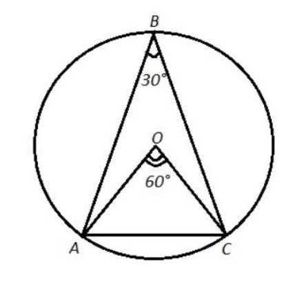 Равнобедренный треугольник авс вписан в окружность. основание треугольника ас равно радиусу окружнос