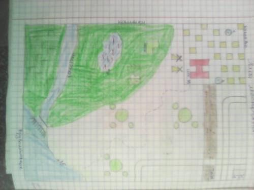 Нарисуйте план местности и нанесите на него объекты так,чтобы получился план средневековой деревни.п