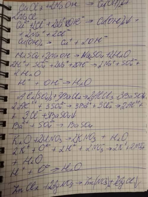 Закончите уравнения, запишите их в ионном и сокращенном виде: 1) напишите молекулярное 2)напишите по