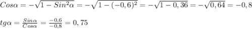Cos\alpha=- \sqrt{1-Sin^{2}\alpha}=- \sqrt{1-(-0,6)^{2}}=- \sqrt{1-0,36}=- \sqrt{0,64}=-0,8\\\\tg\alpha =\frac{Sin\alpha} {Cos\alpha}= \frac{-0,6}{-0,8}=0,75