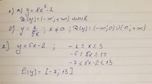 Найдите: 1) область определения функции: а) у=8х^2-2 ; б) у=2/9х 2) область значений функции у=5х-2