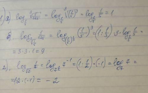 1) log корень из 3 log1/5 1/125 2) log корень из 7 1/7