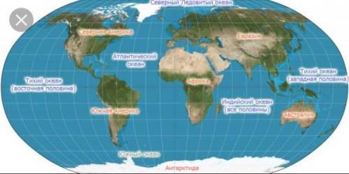 Части света 3. подпиши названия частей света иокеанов.4. определи взаиморасположение ча-стей света.1