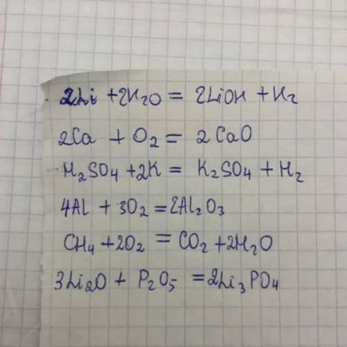 3. уравняйте следующие реакции, расставив коэффициенты над линиями, и укажитеих тип: 1. li + h 0 = _
