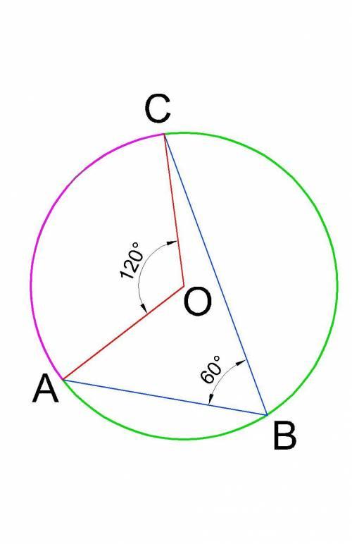 Точки a b c належать колу з центром точки o. кут abc=60градусів. найти кут aoc