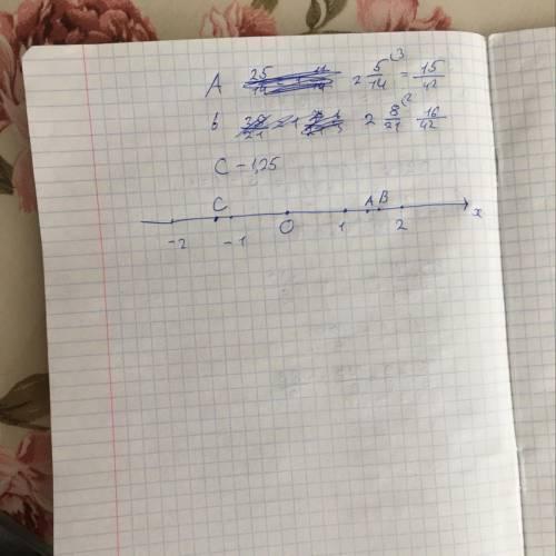 Отметьте и подпишите на координатной прямой точки a (2 5/14), b (2 8/21) и c (-1,25)