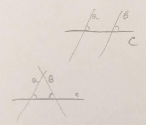 Прямые a и b пересекают прямую с под равными углами. обязательно ли a  b