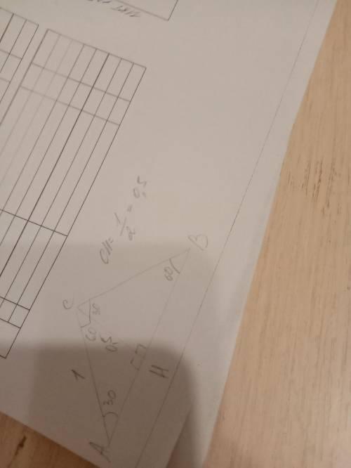 Втреугольнике abc угол с равен 90, угол а равен 30°, ac = 1. найдите высоту сн.