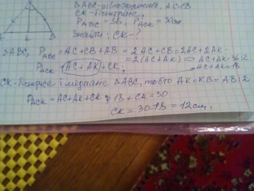 ab-основа рівнобедреного трикутника abc, ck -його бісектриса. знайдіть довжину цієї бісектриси, якщо