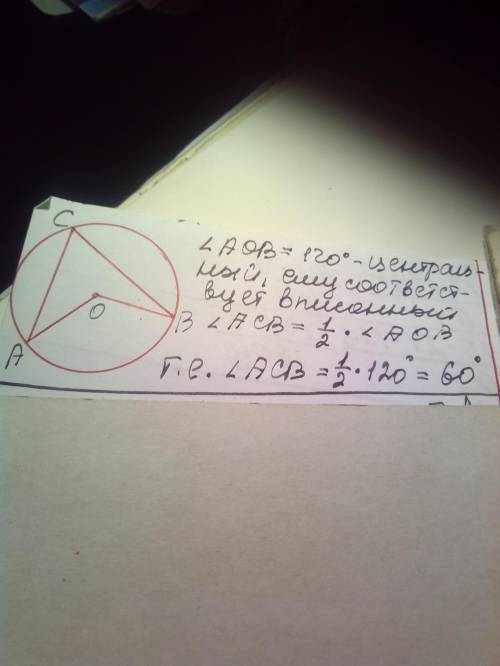 Центральний кут у колі дорівнює 120 градусів тоді градусна міра відповідного вписаного кута становии